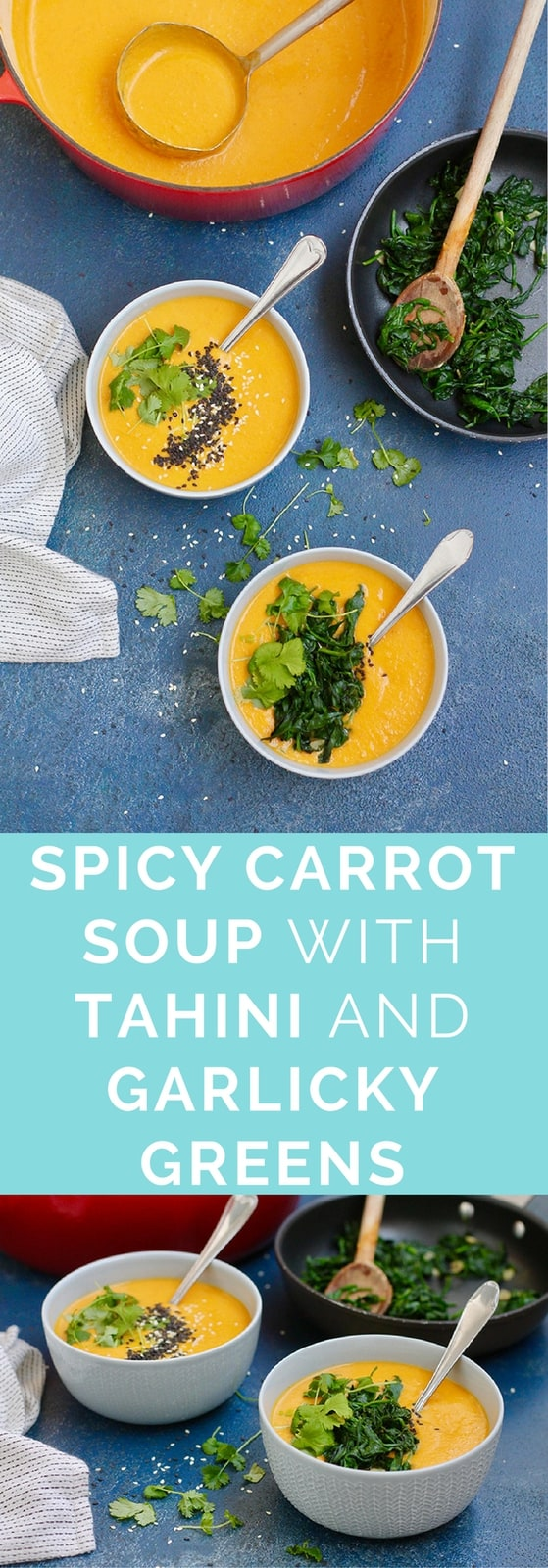 Velvety smooth Spicy Carrot Soup with tahini and topped with garlicky wilted greens cooked in toasted sesame oil. Naturally vegan and gluten-free.