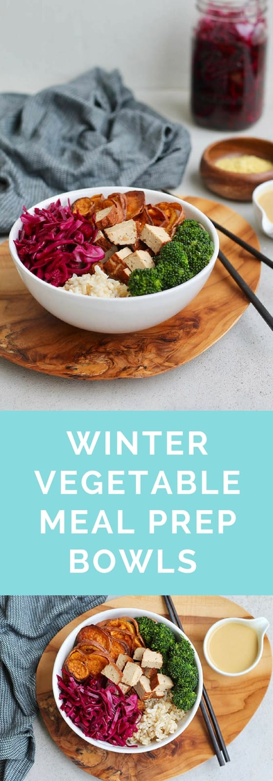 Winter Vegetable Meal Prep Bowls with quick-pickled red cabbage, roasted sweet potato, broccoli, smoked tofu, and magic tahini sauce to make all your dreams come true! #vegan #vegetarian #mealprep #bowl #glutenfree