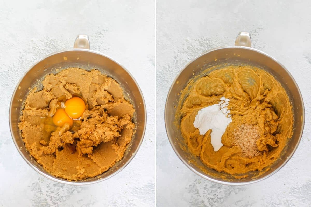 overhead photo with eggs being mixed into sugar and butter