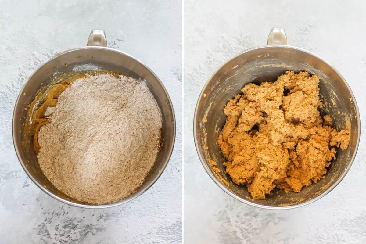 spelt flour being mixed into cookie dough