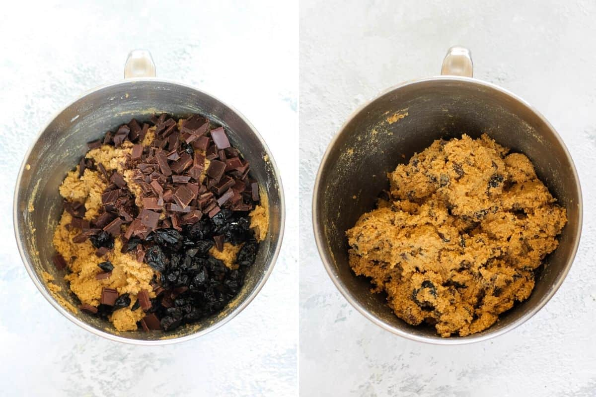 dark chocolate and cherries being mixed into spelt cookie dough