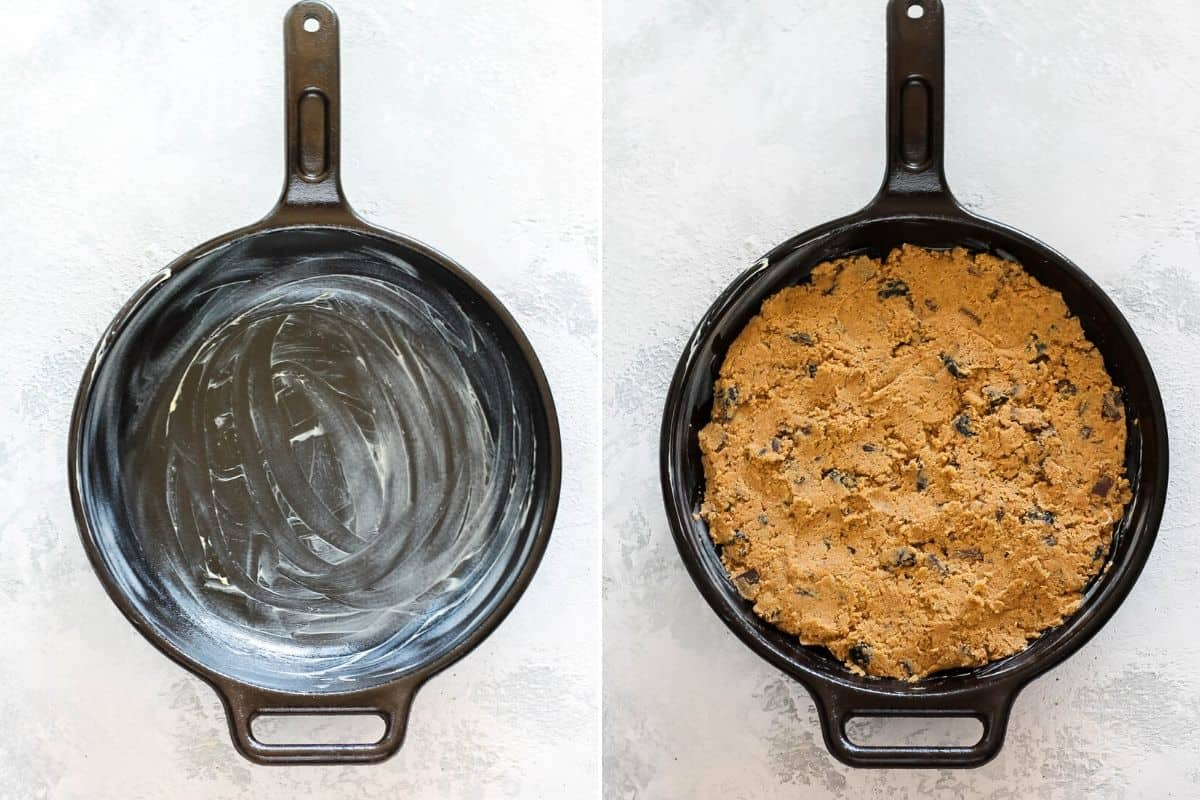 photo collage with spelt chocolate chip cookie dough pressed into a buttered cast iron skillet