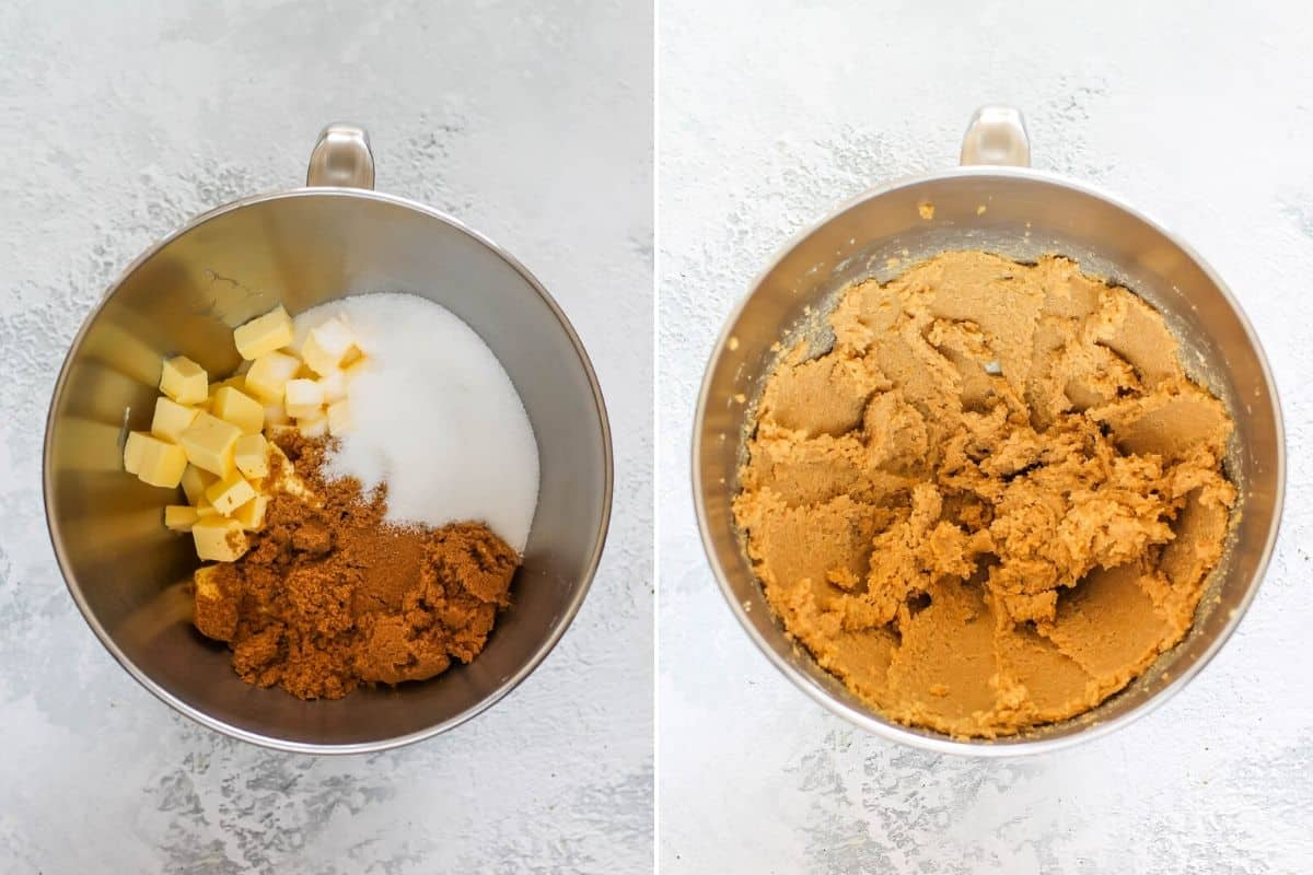 photo collage with butter and sugar in the bowl of a mixer