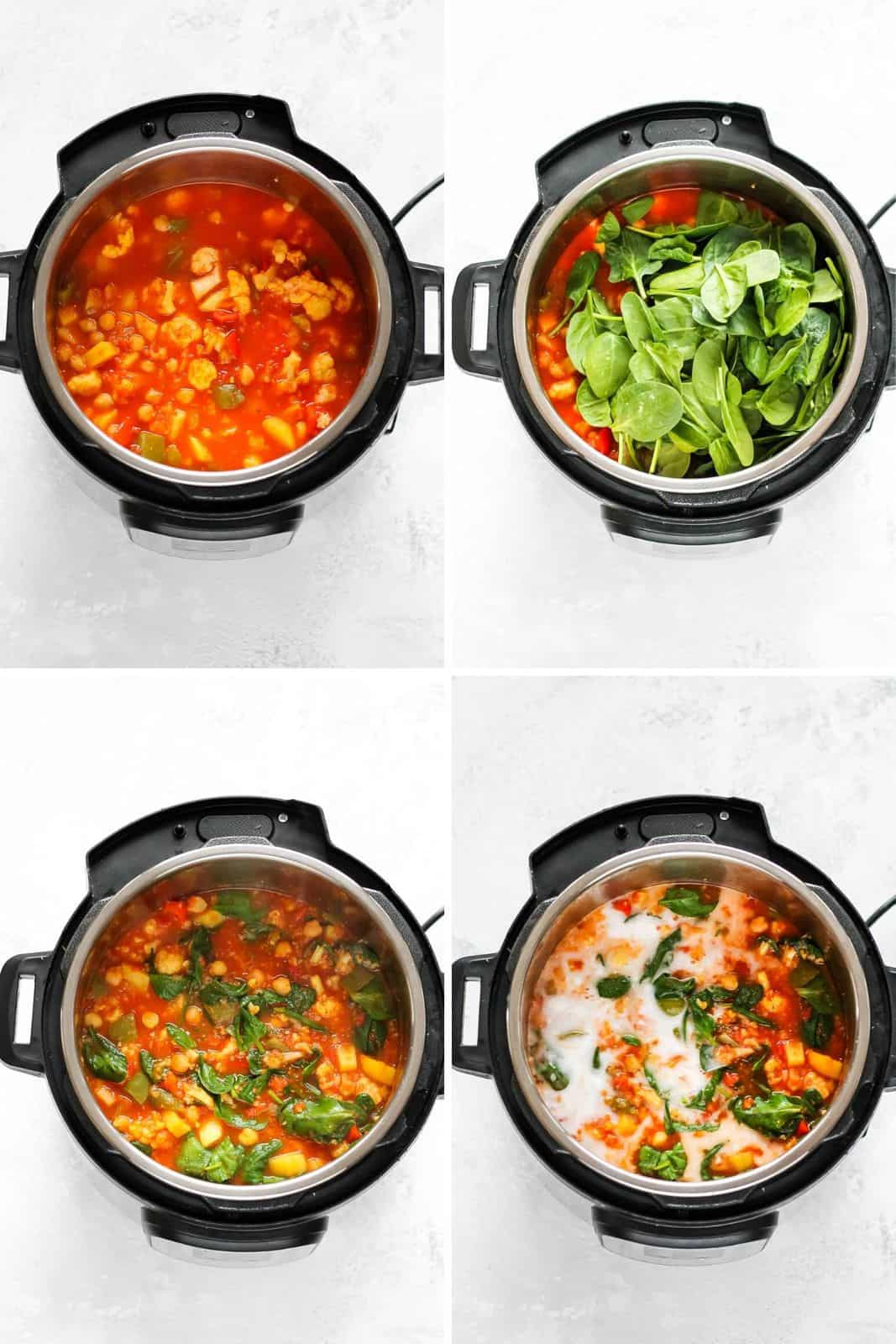 photo collage of chickpea curry being made in an instant pot