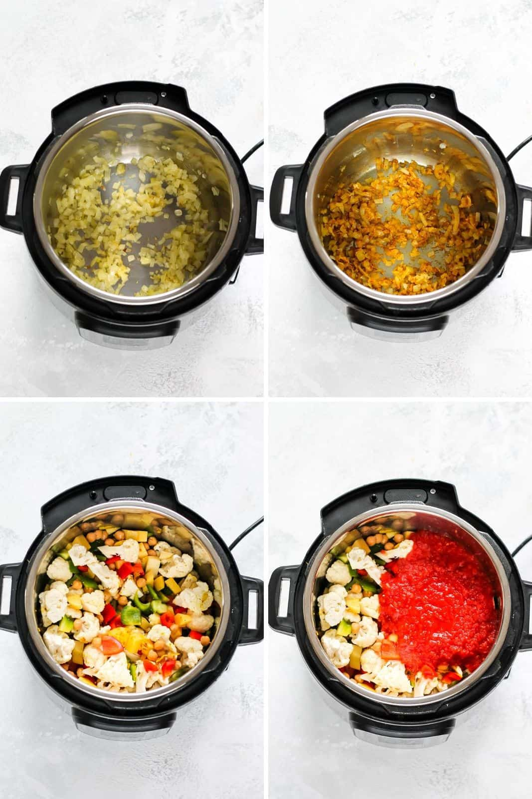 photo collage of chickpea curry being prepared in an instant pot