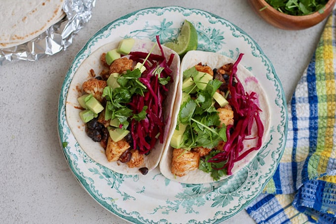 Sheet Pan Cauliflower Tacos with Halloumi and Black Beans