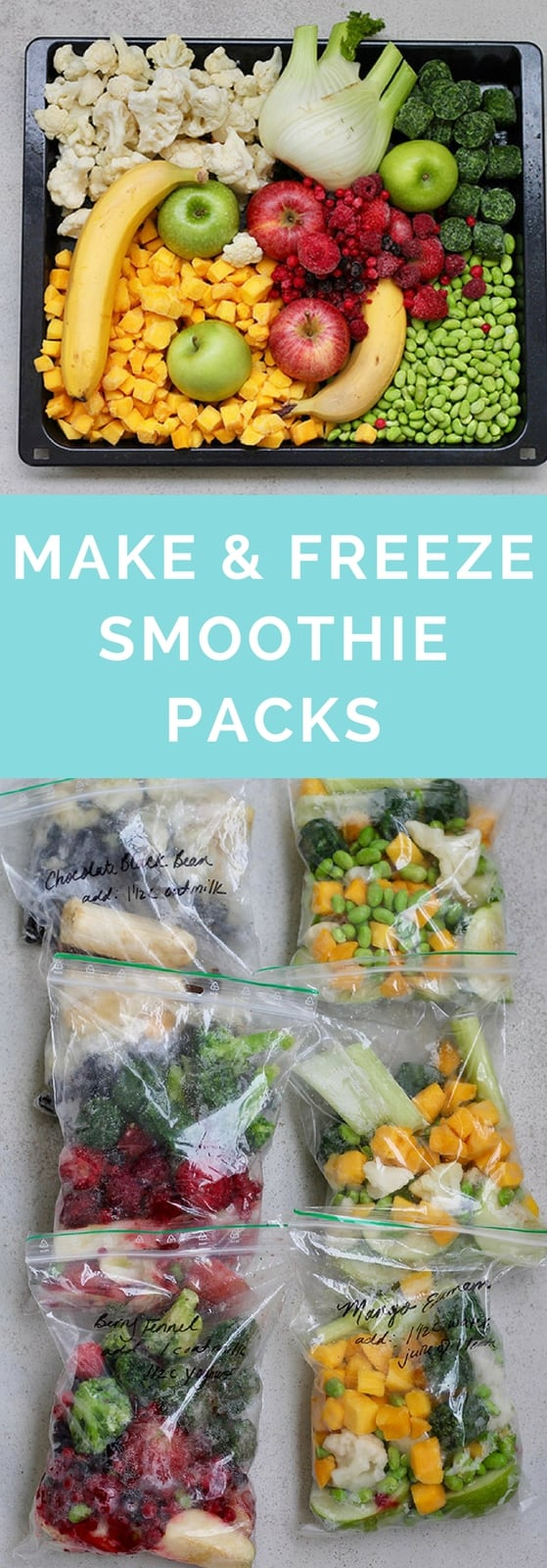 Simplify your morning routine with make-and-freeze smoothie packs! Bulk prep your favourite smoothie recipes so all you need to do is dump and blend on a busy morning. #smoothie #smoothiepacks #makeandfreeze #healthy #recipe #mealprep