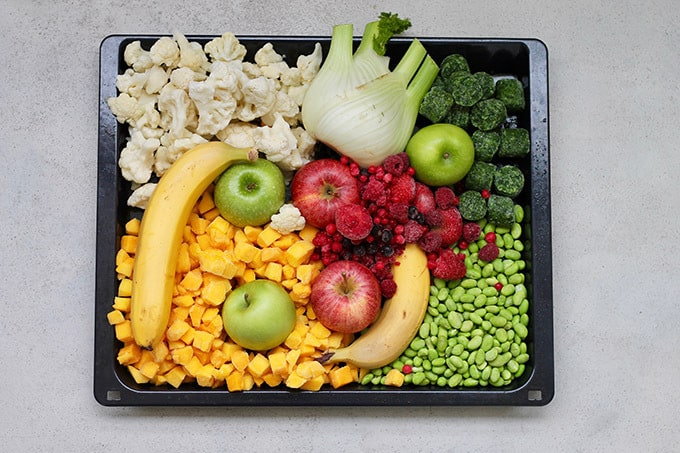 tray of frozen fruits and vegetables