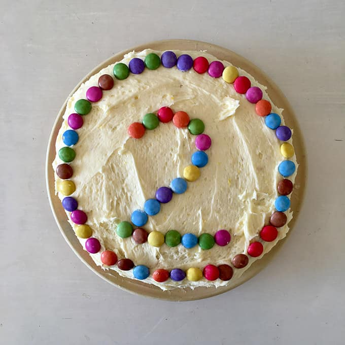 cake with number 2 on it in smarties