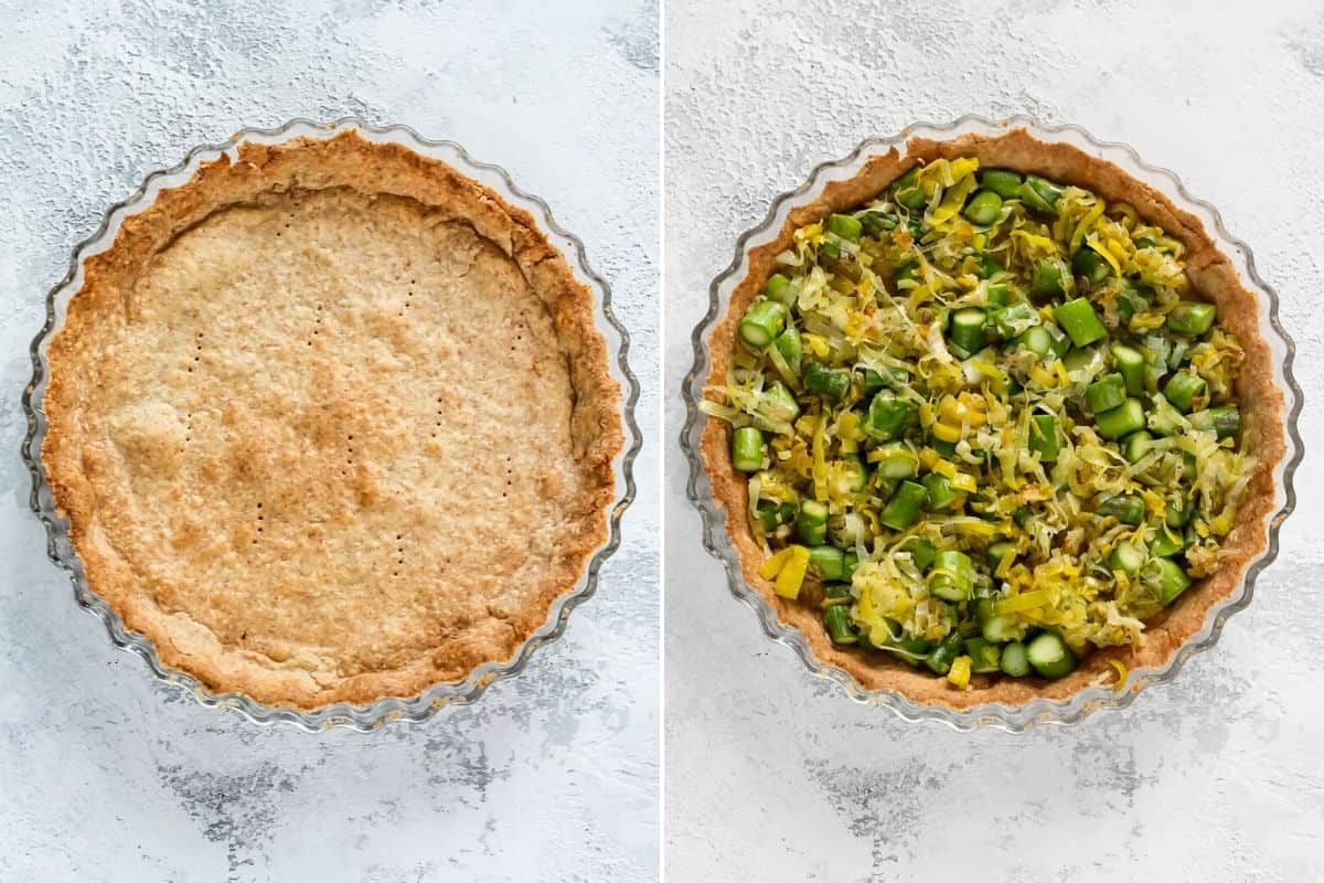 photo collage with asparagus and leeks in a wholegrain pastry crust