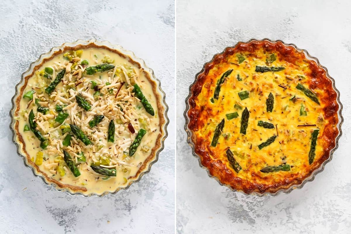 photo collage of uncooked and cooked asparagus quiche