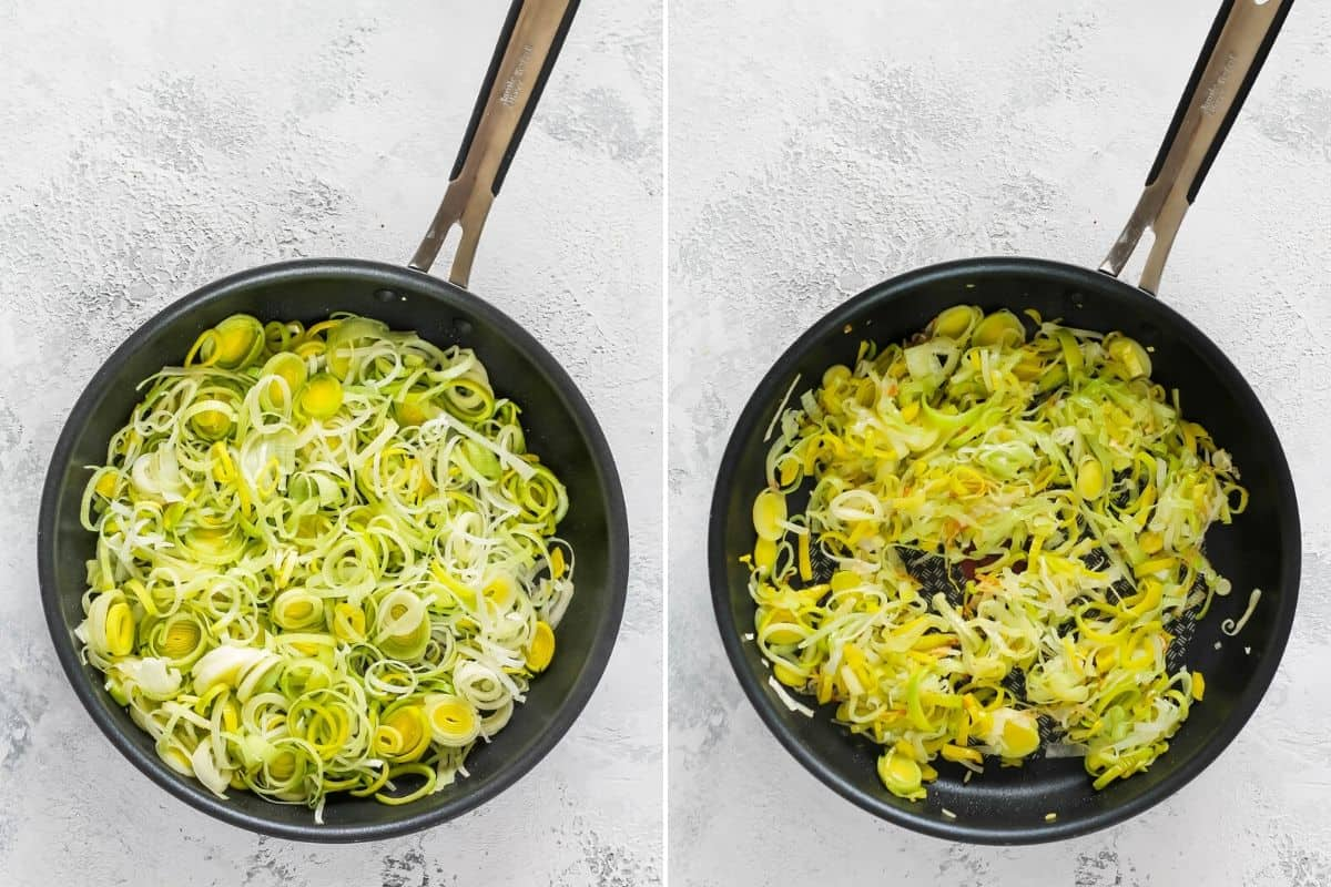 photo collage of leeks being cooked in a large skillet