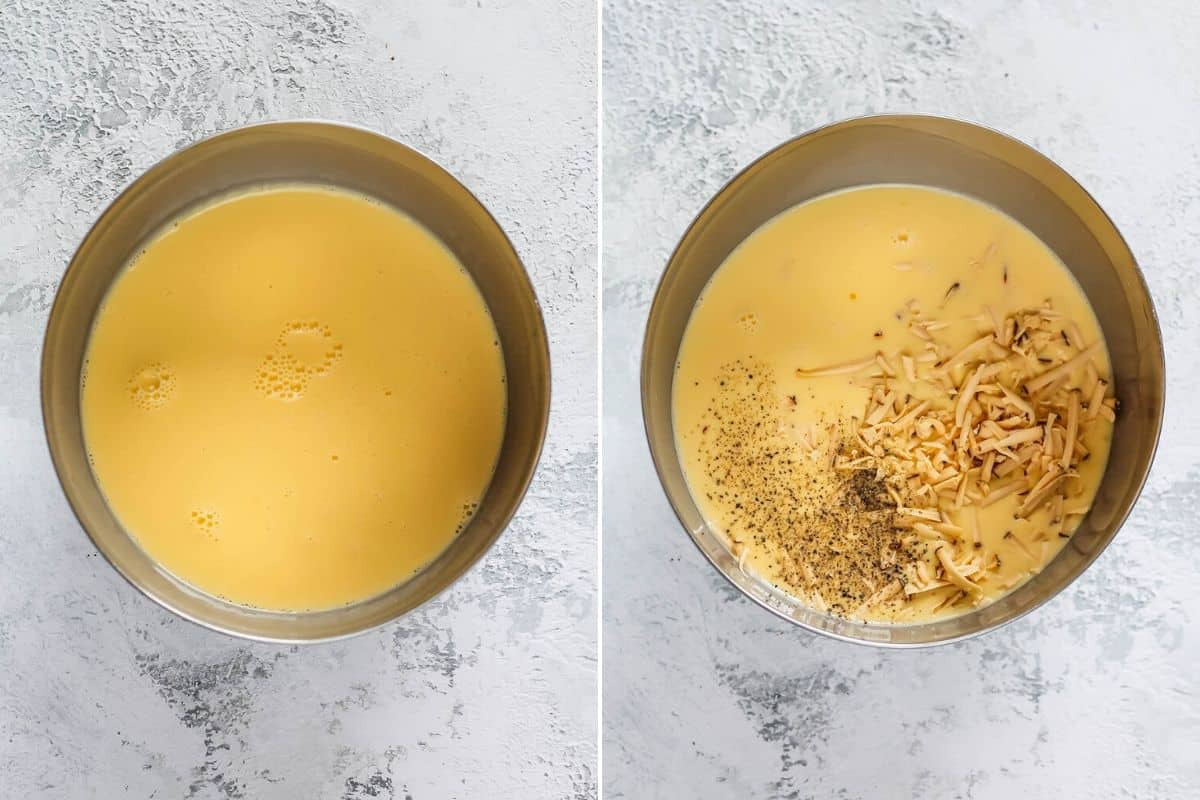 photo collage of eggs, milk, cream, and cheese being mixed in a metal bowl