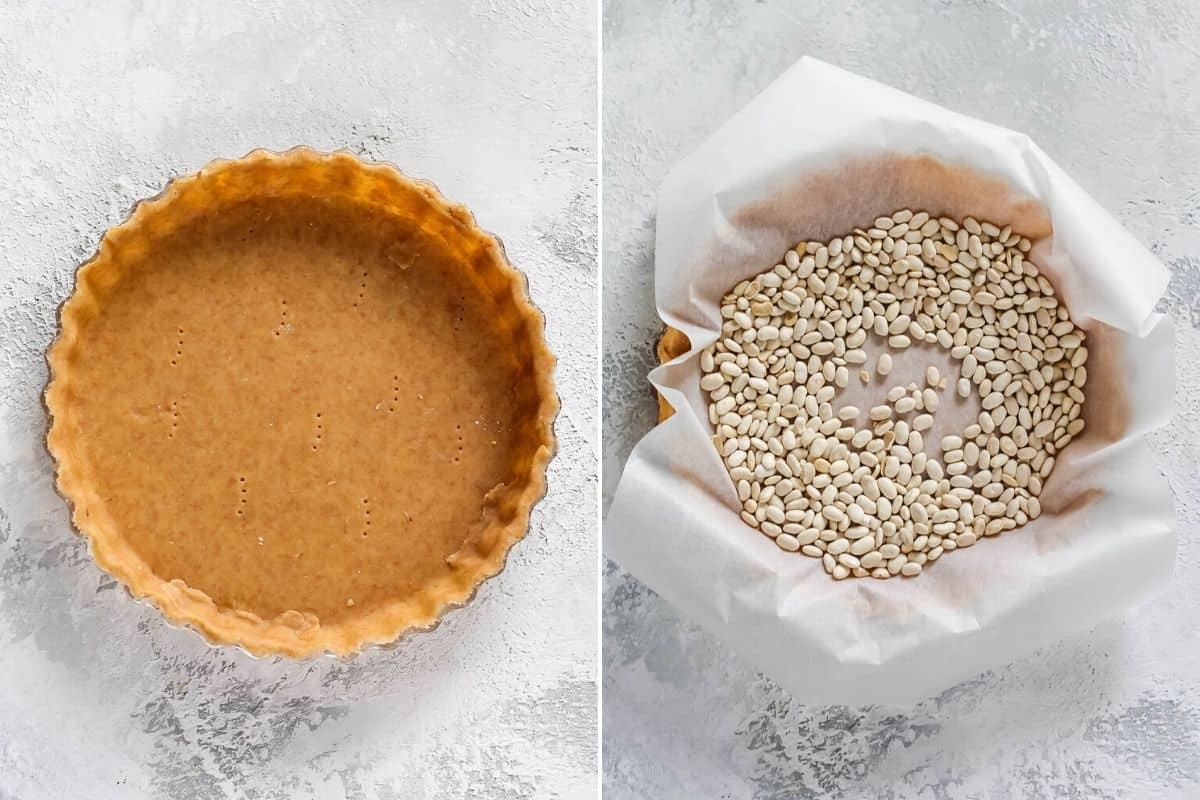 photo collage of a spelt flour baking crust being blind baked filled with beans