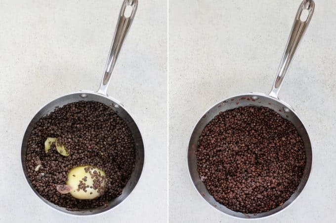 photo collage of cooked seasoned beluga lentils in a sauce pan