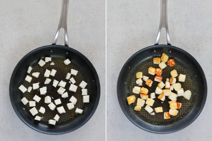 photo collage of halloumi fried in a frying pan