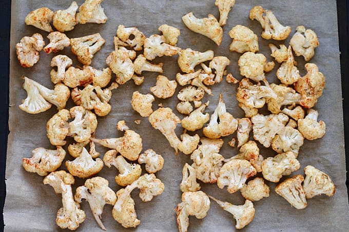 tray of cauliflower about to be roasted
