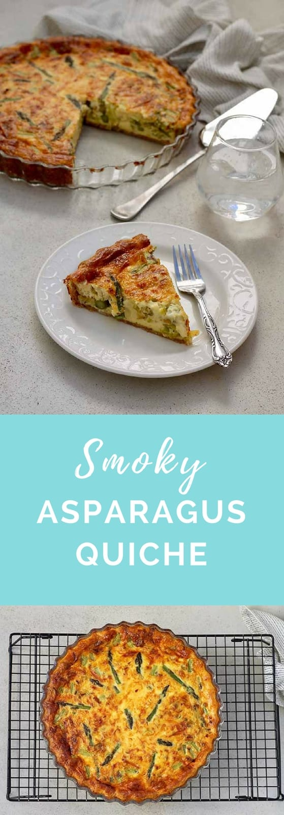 Smoky Asparagus Quiche! Made with softened leeks, smoked cheese, and a wholegrain spelt crust, this quiche is perfect for a springtime brunch.