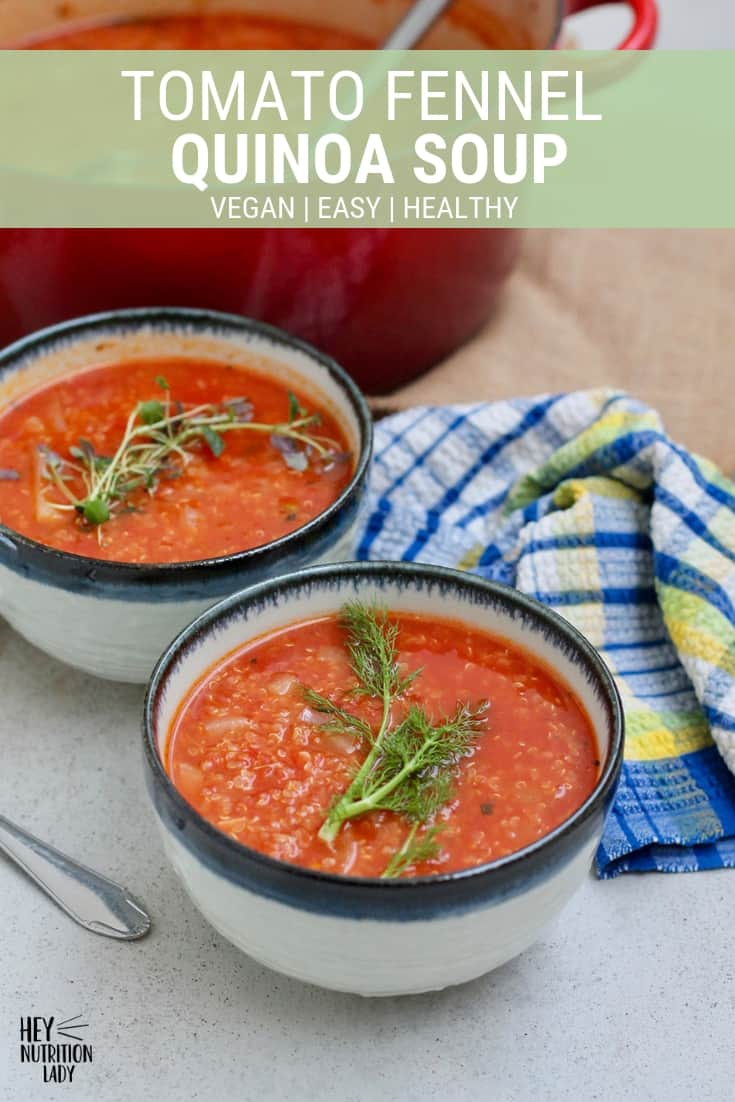 Tomato Fennel Quinoa Soup - a quick, easy, and delicious vegan soup recipe that's filling enough to be a meal in of itself. Freezer-friendly, and easily doubled, this tomato soup will feed a crowd. #vegantomatosoup #glutenfree