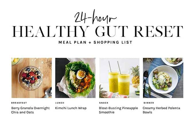 24-hour gut reset meal plan and shopping list graphic