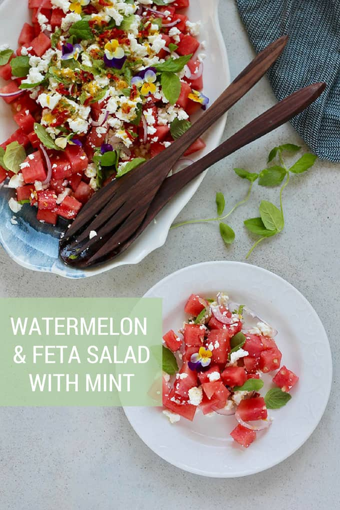 Watermelon and Feta Salad with Mint! This classic summer salad gets taken up a notch with a drizzle of lemon chili oil, a layered assembly, and lots and lots of mint. #salad #watermelon #bbq #sidedish #vegetarian #watermelonsalad #fresh #summer #easy #healthy #recipe