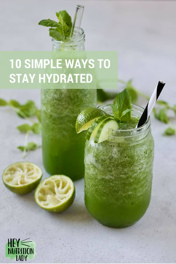 10 Simple Ways to Stay Hydrated. It can be tough to stay hydrated in the heat, during pregnancy, or when exercising. Here are some simple tips to help you stay hydrated every day, no matter what. #nutrition #hydration #fluids #summer #exercise #tips #heat #drinks #health