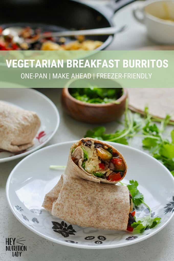 These easy Vegetarian Breakfast Burritos are a healthy, freezer-friendly option for breakfast, lunch, or dinner. Made in one pan, loaded with veggies, scrambled eggs, and whole wheat tortillas, these are great for meal prep and make-ahead meals. #vegetarian #breakfast #burrito #breakfastburrito #eggs #vegetables #tortilla #easy #recipe #healthy #mealprep #veggies #freezer