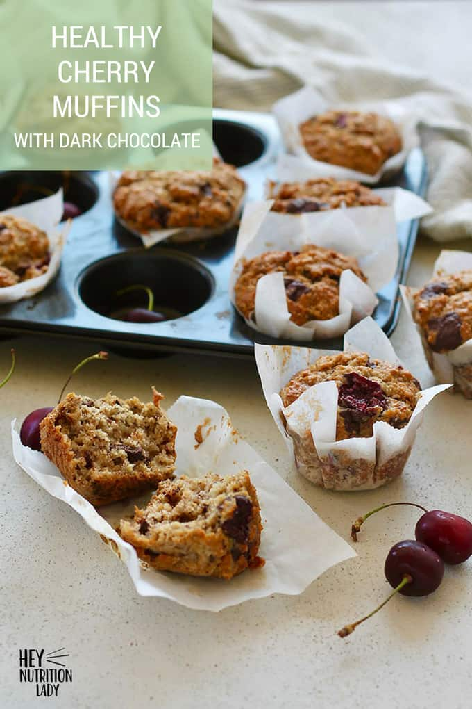 Healthy Cherry Muffins made with fresh cherries and dark chocolate chunks! This muffin recipe is easy to make and uses good-for-you ingredients like yoghurt, oatmeal, and wholegrain rye flour. It's a cherry muffin the whole family will love! #recipe #muffins #healthy #easy #cherry #oatmeal #banana #rye #chocolate #baked