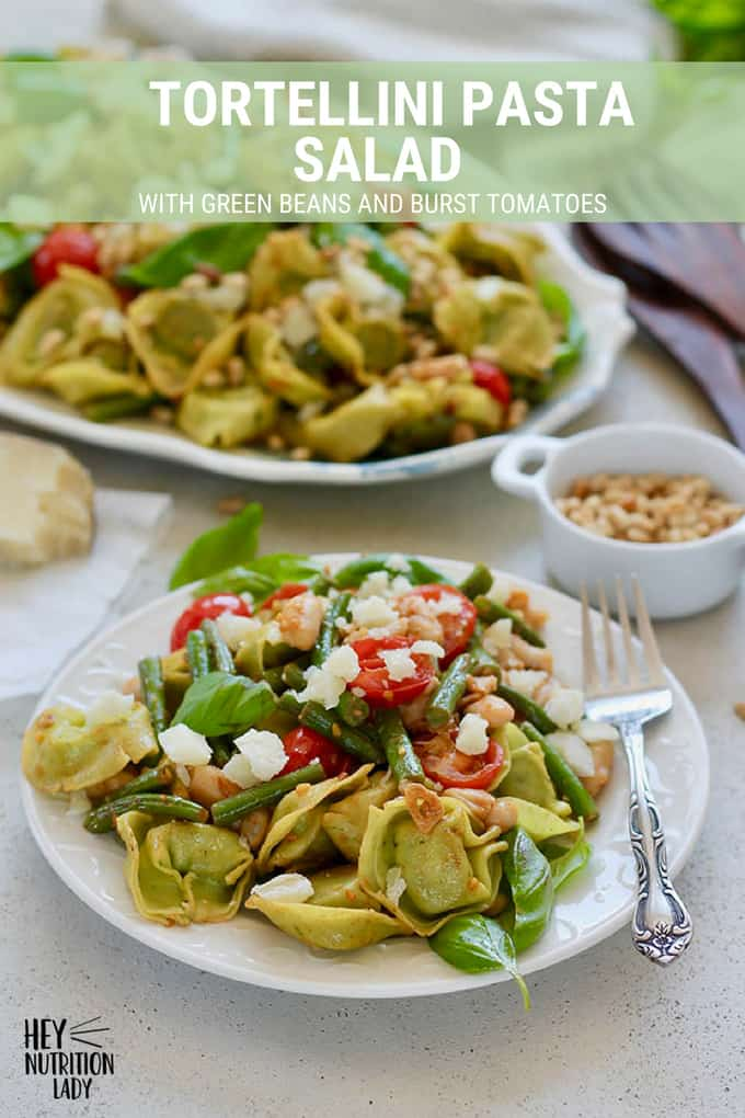 Tortellini Pasta Salad with Green Beans and Burst Tomatoes - this easy vegetarian pasta salad can be served warm or at room temperature. It's quick to make, packed with protein, and super healthy. Perfect for family gatherings and picnics alike. #pasta #recipe #easy #quick #healthy #tortellini #pastasalad #salad #warm #tomatoes #greenbeans #beans #vegetarian