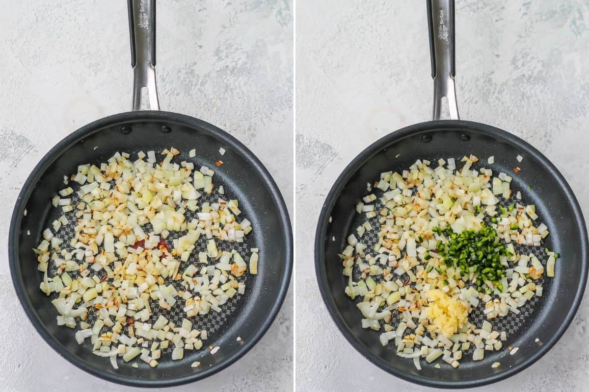 photo collage of onions, garlic, and jalapeno in a frying pan