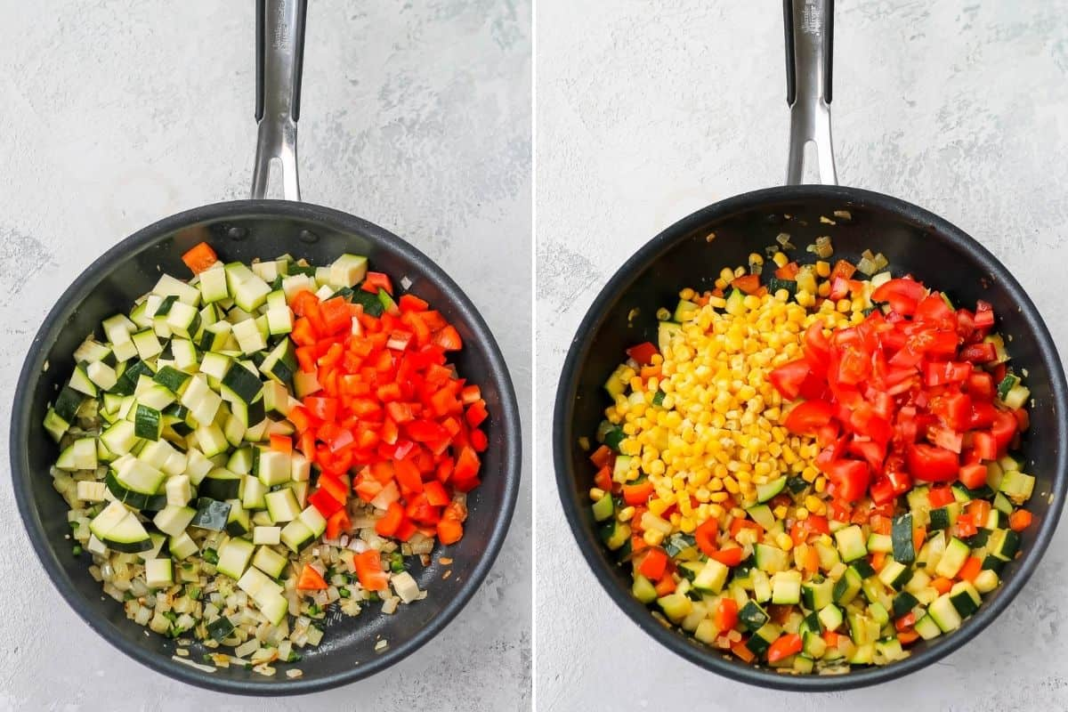 photo collage of vegetables ad frozen corn being cooked in a frying pan