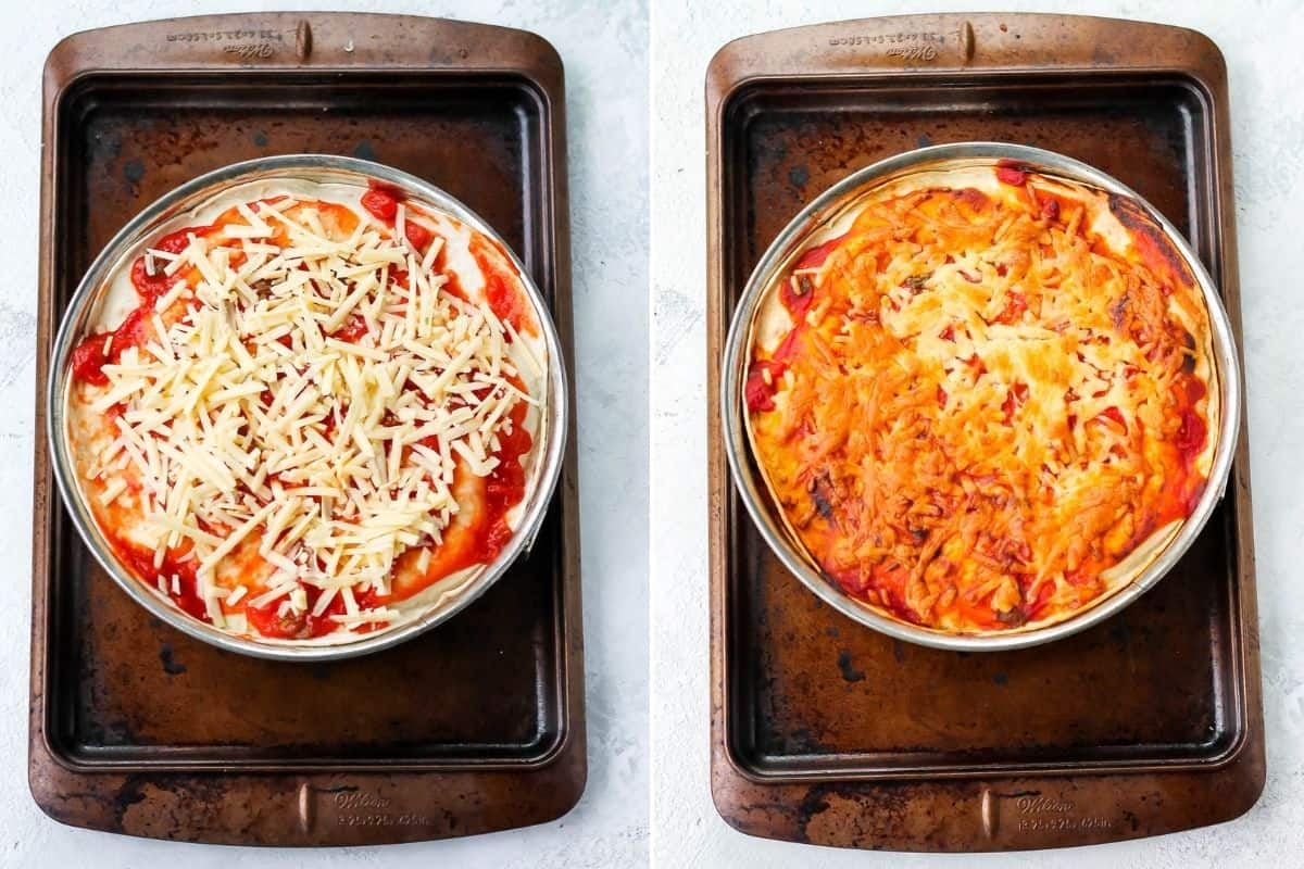 photo collage of a baked and unbaked tortilla stack in a springform pan
