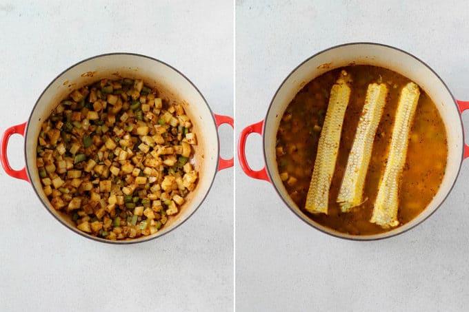 vegan corn chowder process shots