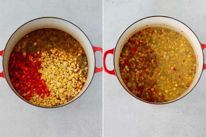 vegan corn chowder process shots blended