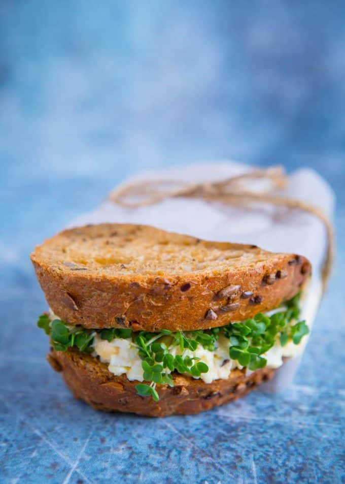 egg and cress sandwich on a blue background