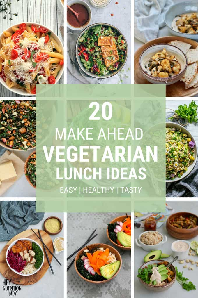 20 Vegetarian Lunch Ideas: here are 20 healthy and delicious packable salads and bowls that are easy to throw together, perfect for meal prep, and quick to grab on your way out the door. From make-ahead pastas to vegan Buddha bowls, there's something for everyone here! #vegetarian #lunch #lunchideas #vegan #makeahead #mealprep #easy #healthy #quick #onthego