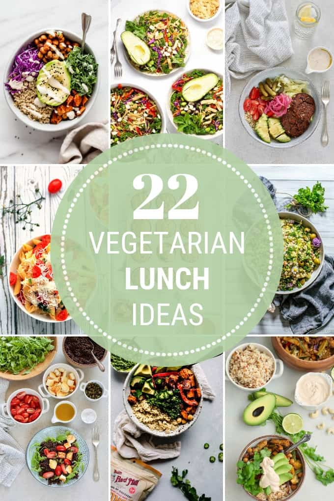 photo collage of vegetarian lunch ideas