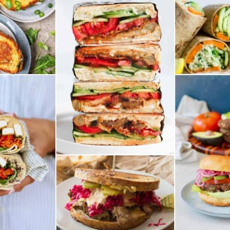 photo collage of vegan sandwiches