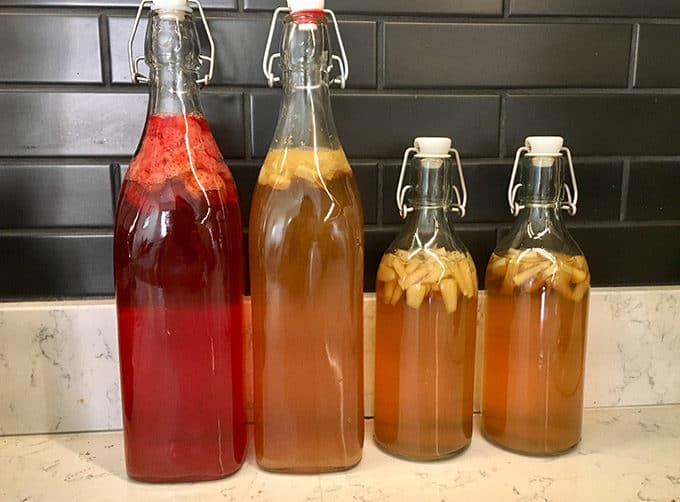 kombucha in bottles