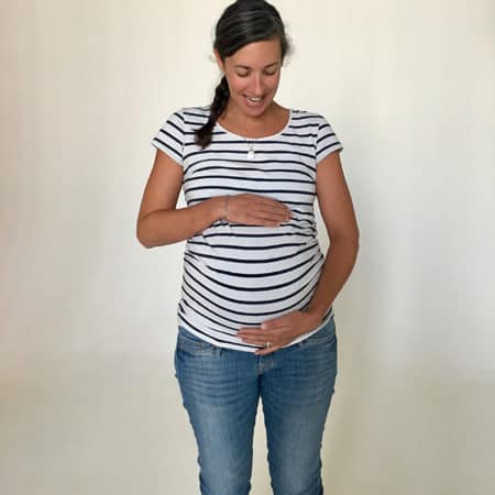 pregnant lady in a striped shirt