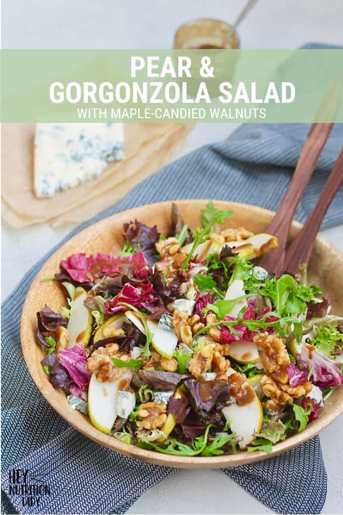 Pear and Gorgonzola Salad with Maple Candied Walnuts. This green salad is such an easy and tasty recipe for the holidays. With a quick and easy vinaigrette and a good amount of gorgonzola cheese, it's healthy and delicious. #salad #pearsalad #pearandgorgonzolasalad #gorgonzola #cheese #walnuts #maple #glutenfree #recipe #vegetarian