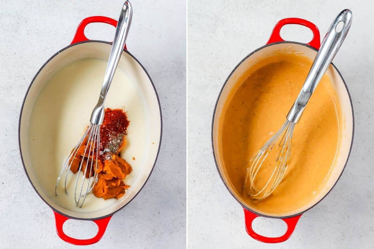 photo collage of pumpkin cheese sauce being made in a red dutch oven