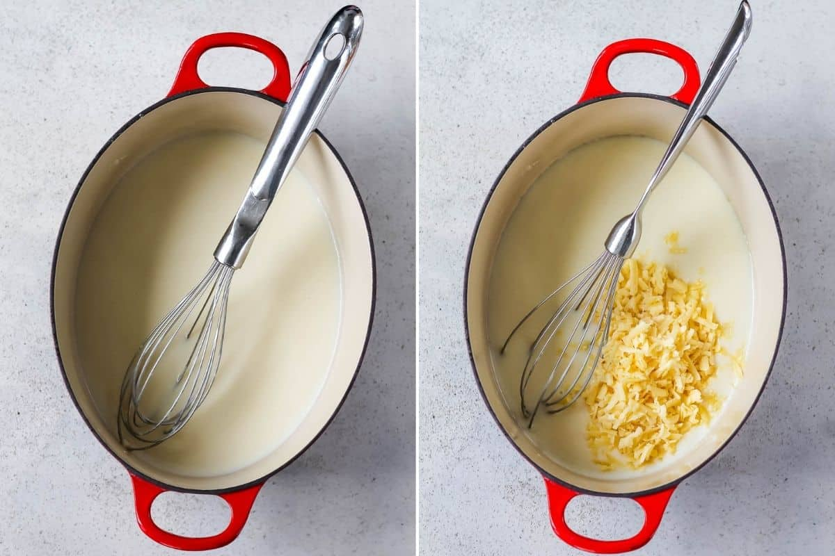 photo collage of a cheese sauce being made in a red dutch oven