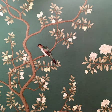 floral wallpaper with birds