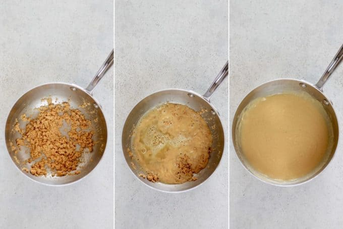photo collage of gravy being made with a roux