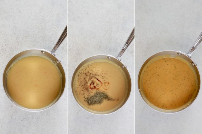 photo collage of vegan gravy being made in a saucepan