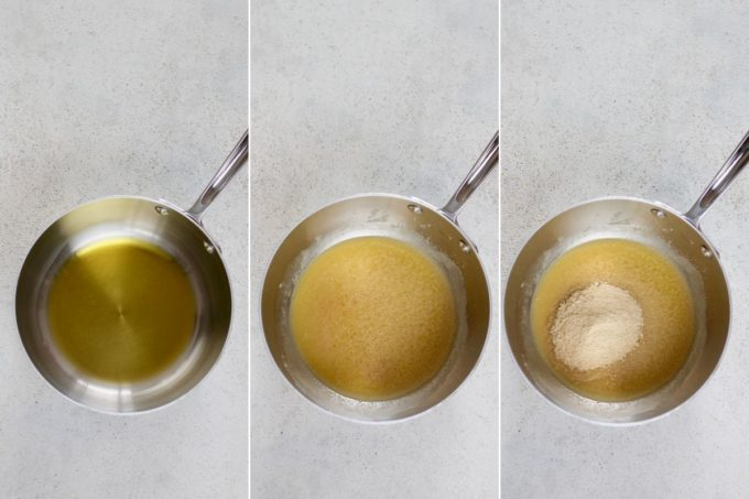 photo collage of a roux being made in a metal saucepan