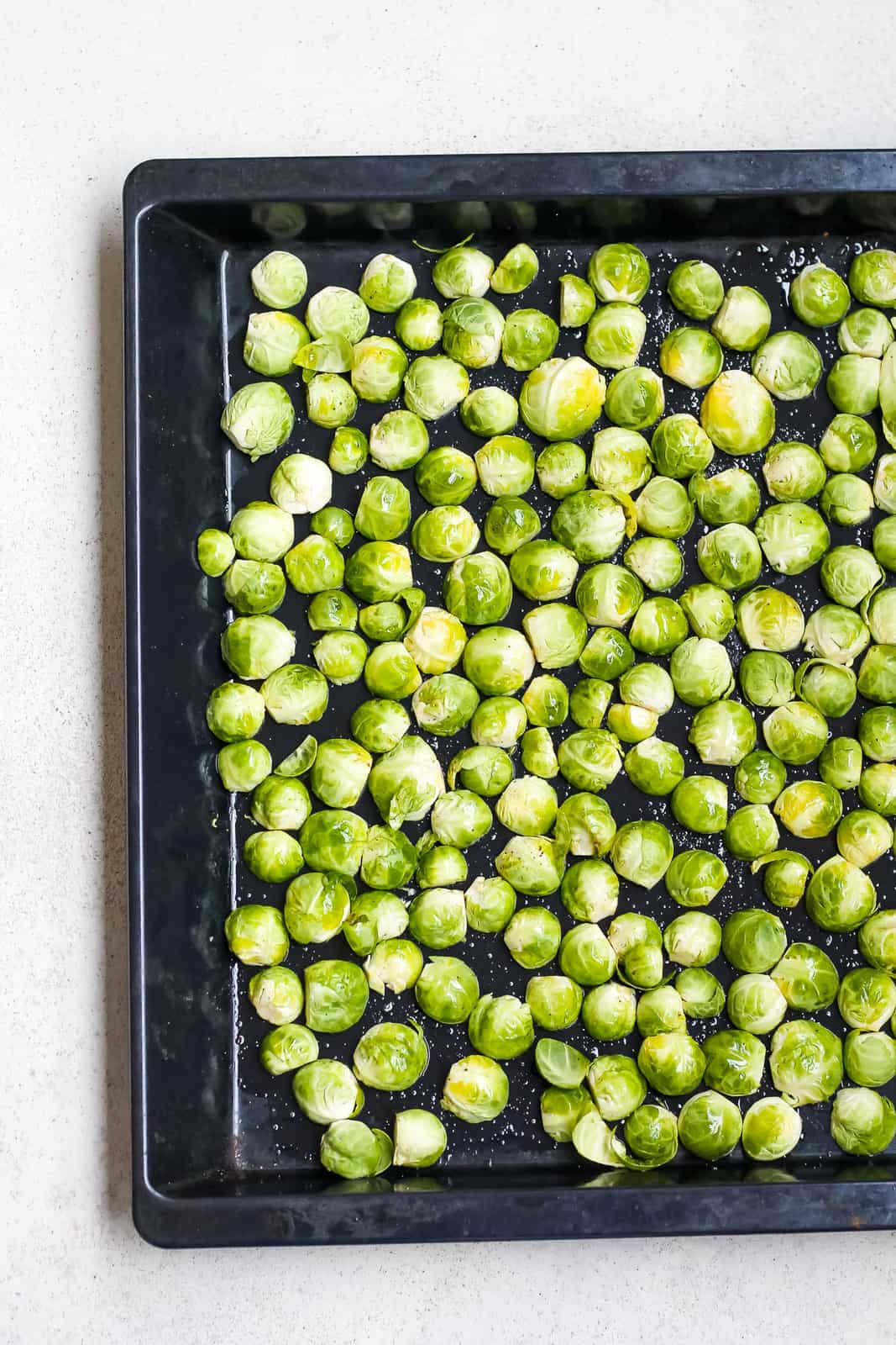 brussels sprouts on a metal tray