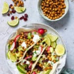 chickpea tacos on a white plate