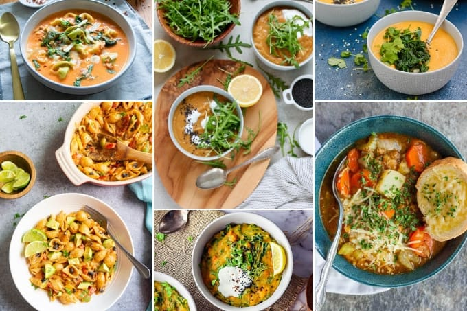 collage of vegetarian instant pot recipes